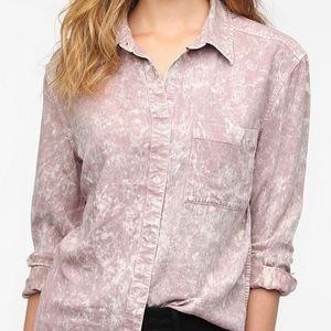 UO Pink Acid Wash Chambray Button-Down Shirt
